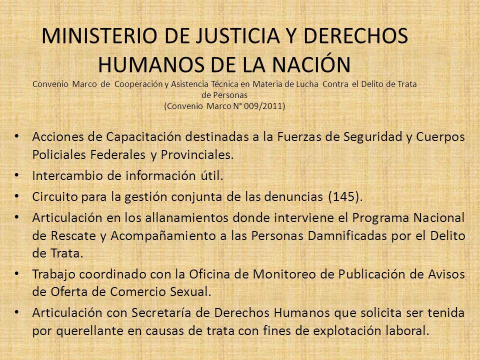 MINISTERIO DE JUSTICIA Y DERECHOS HUMANOS DE LA NACIÓN Convenio Marco de Cooperación y Asistencia Técnica en Materia de Lucha Contra el Delito de Trata de Personas (Convenio Marco N° 009/2011)