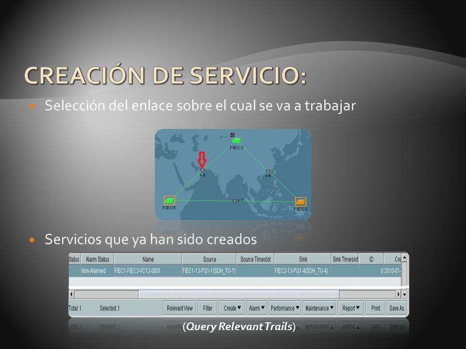 CREACIÓN DE SERVICIO: Selección del enlace sobre el cual se va a trabajar. Servicios que ya han sido creados.
