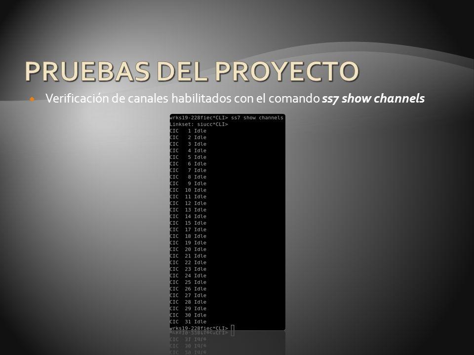 PRUEBAS DEL PROYECTO Verificación de canales habilitados con el comando ss7 show channels