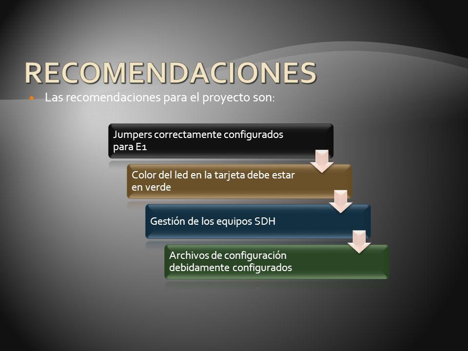 RECOMENDACIONES Las recomendaciones para el proyecto son:
