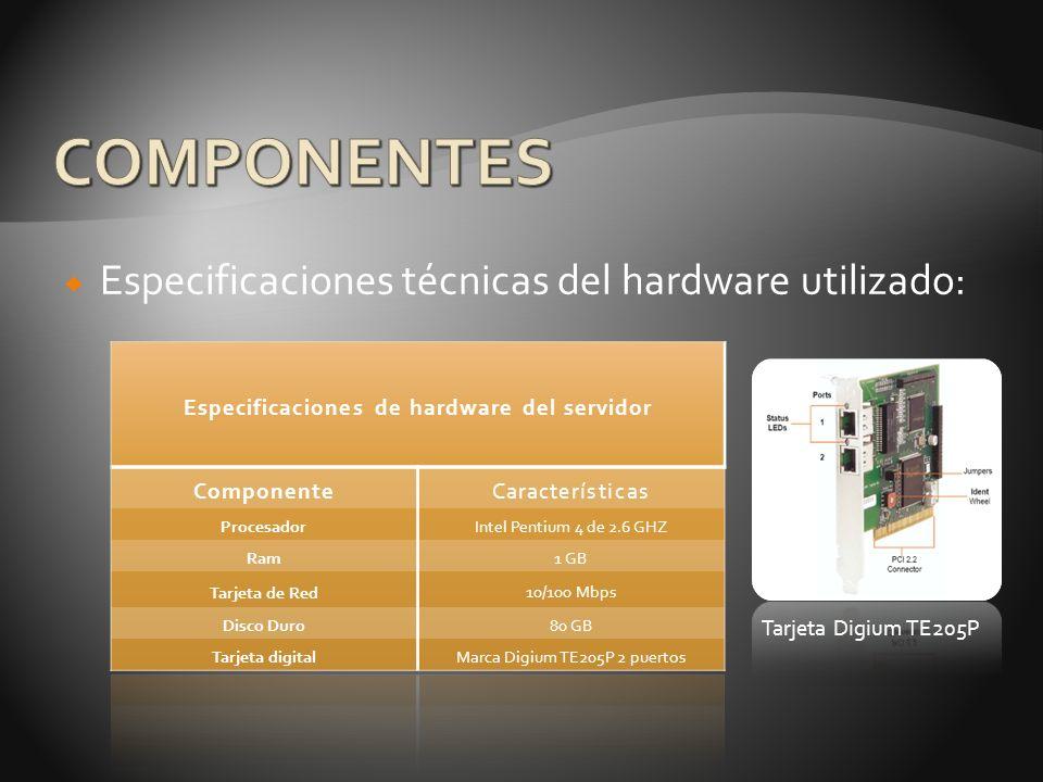 Especificaciones de hardware del servidor