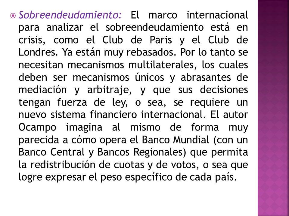 Sobreendeudamiento: El marco internacional para analizar el sobreendeudamiento está en crisis, como el Club de Paris y el Club de Londres.