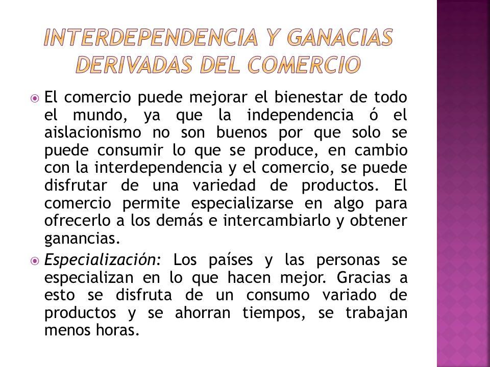 INTERDEPENDENCIA Y GANACIAS DERIVADAS DEL COMERCIO
