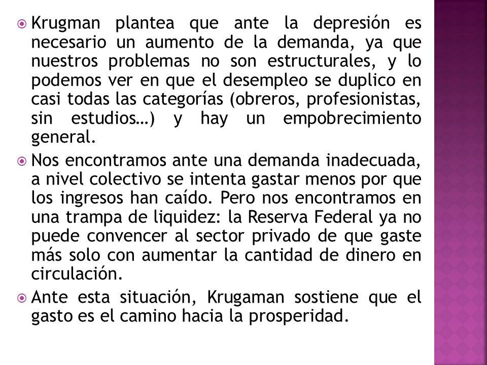 Krugman plantea que ante la depresión es necesario un aumento de la demanda, ya que nuestros problemas no son estructurales, y lo podemos ver en que el desempleo se duplico en casi todas las categorías (obreros, profesionistas, sin estudios…) y hay un empobrecimiento general.