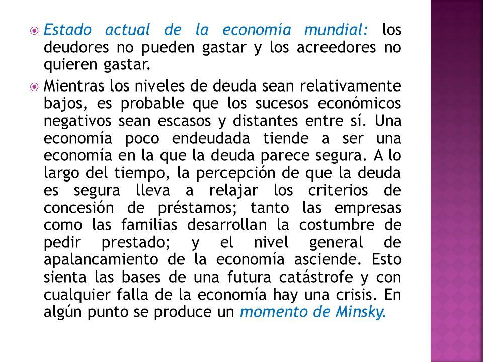 Estado actual de la economía mundial: los deudores no pueden gastar y los acreedores no quieren gastar.