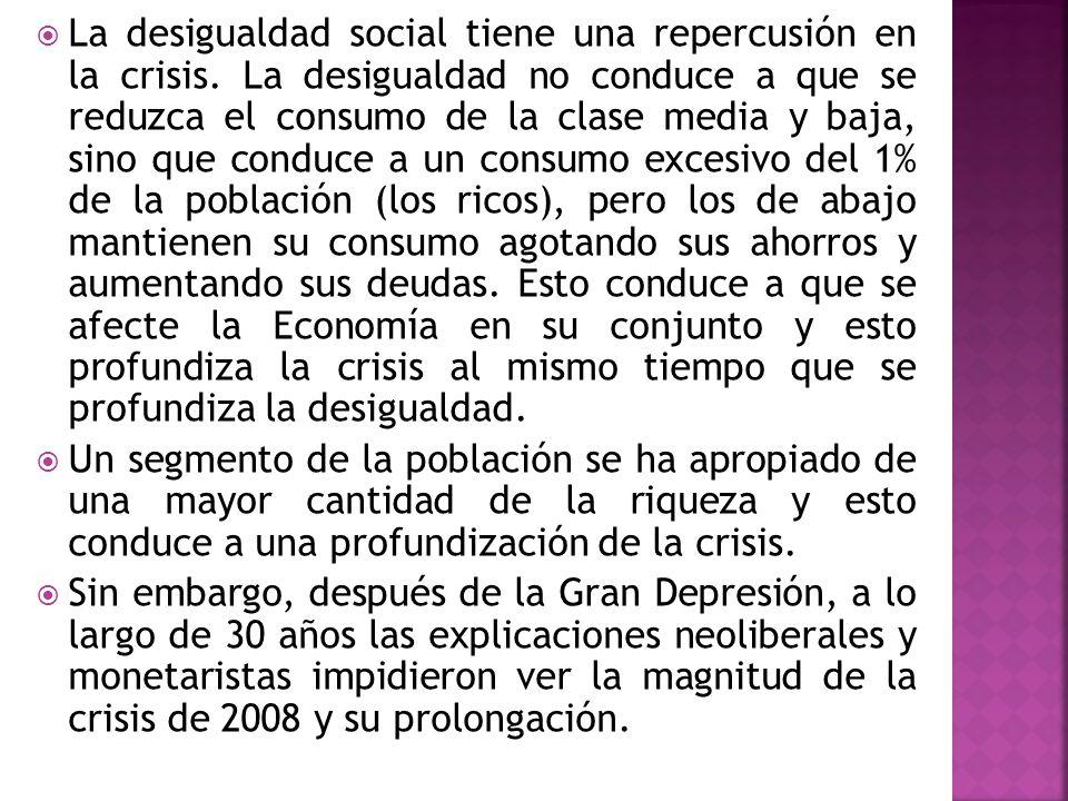 La desigualdad social tiene una repercusión en la crisis