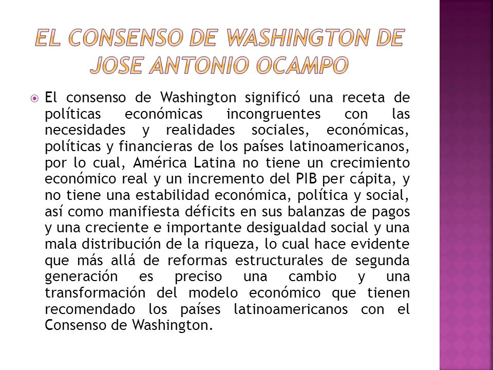 El Consenso de WASHINGTON DE JOSE ANTONIO OCAMPO