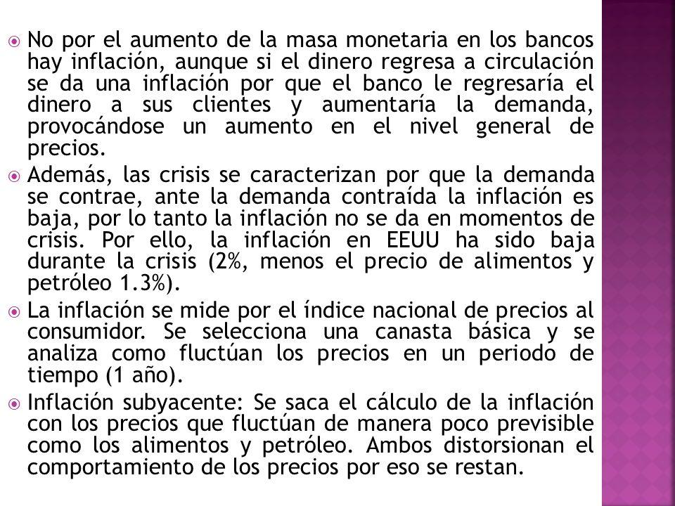 No por el aumento de la masa monetaria en los bancos hay inflación, aunque si el dinero regresa a circulación se da una inflación por que el banco le regresaría el dinero a sus clientes y aumentaría la demanda, provocándose un aumento en el nivel general de precios.