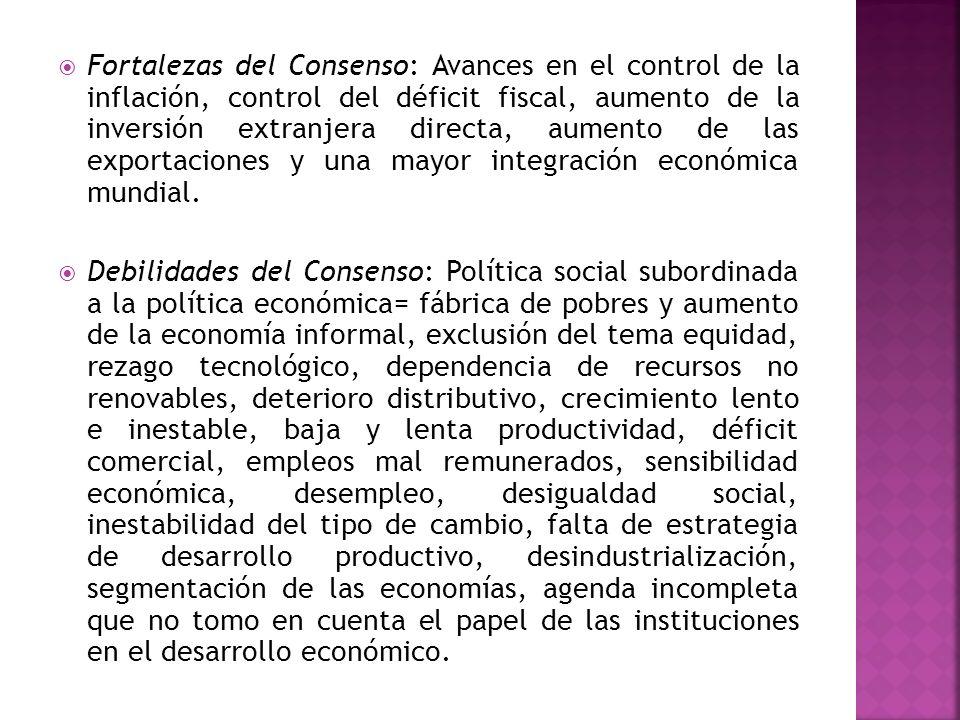 Fortalezas del Consenso: Avances en el control de la inflación, control del déficit fiscal, aumento de la inversión extranjera directa, aumento de las exportaciones y una mayor integración económica mundial.