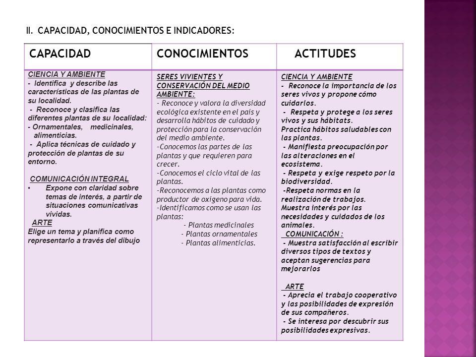 CAPACIDAD CONOCIMIENTOS ACTITUDES