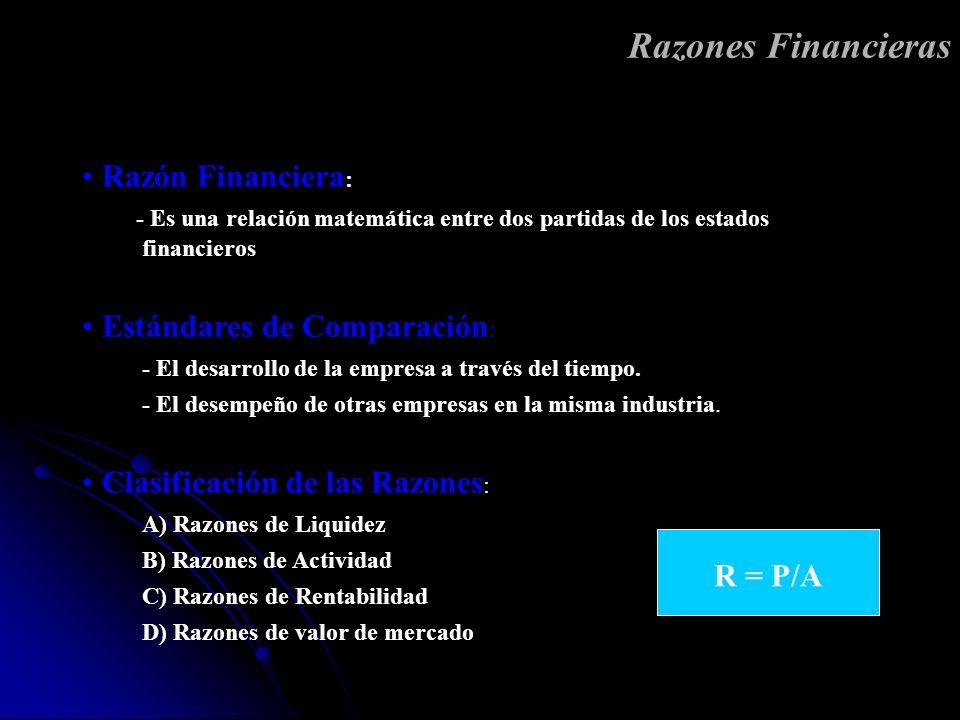Razones Financieras Razón Financiera: Estándares de Comparación: