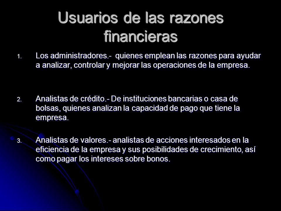 Usuarios de las razones financieras