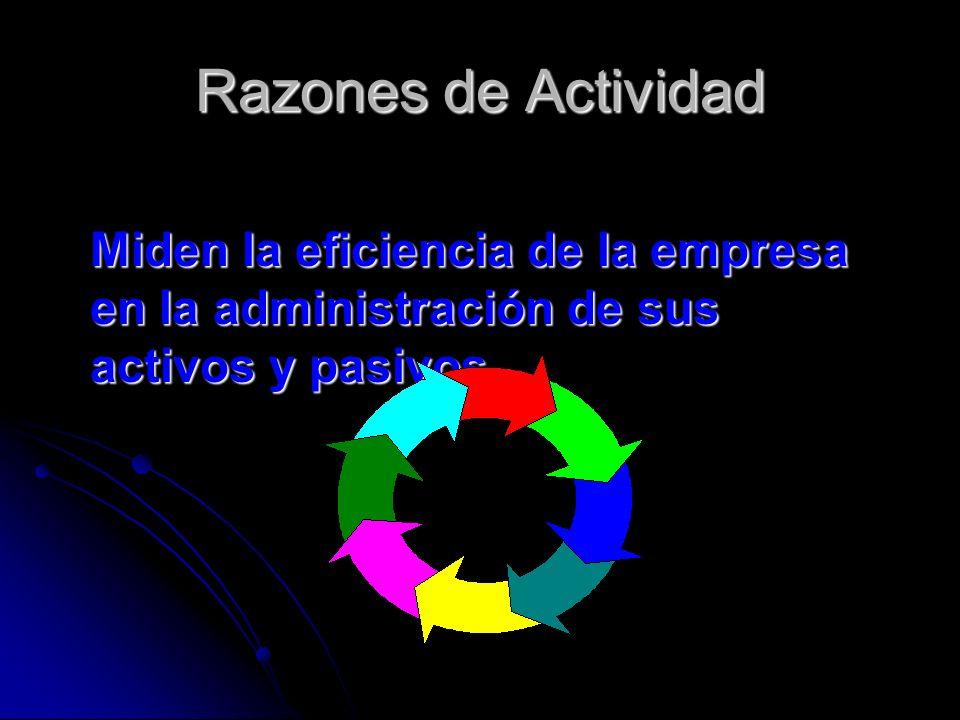 Razones de Actividad Miden la eficiencia de la empresa en la administración de sus activos y pasivos.