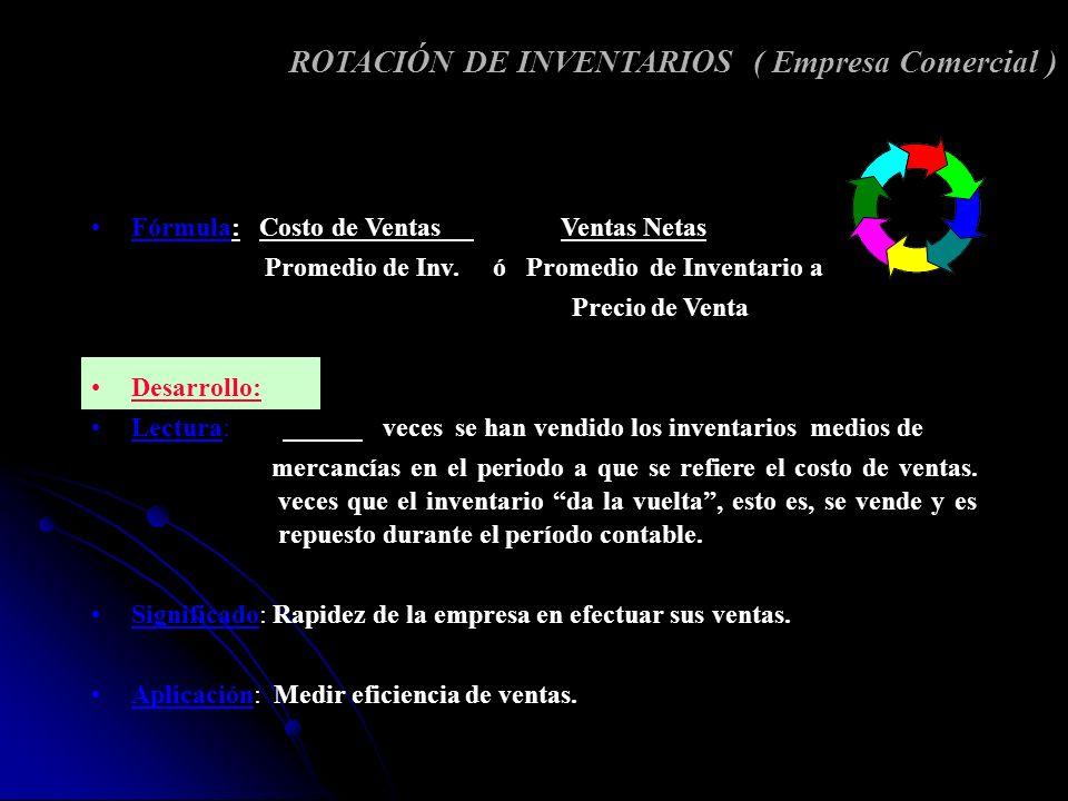 ROTACIÓN DE INVENTARIOS ( Empresa Comercial )