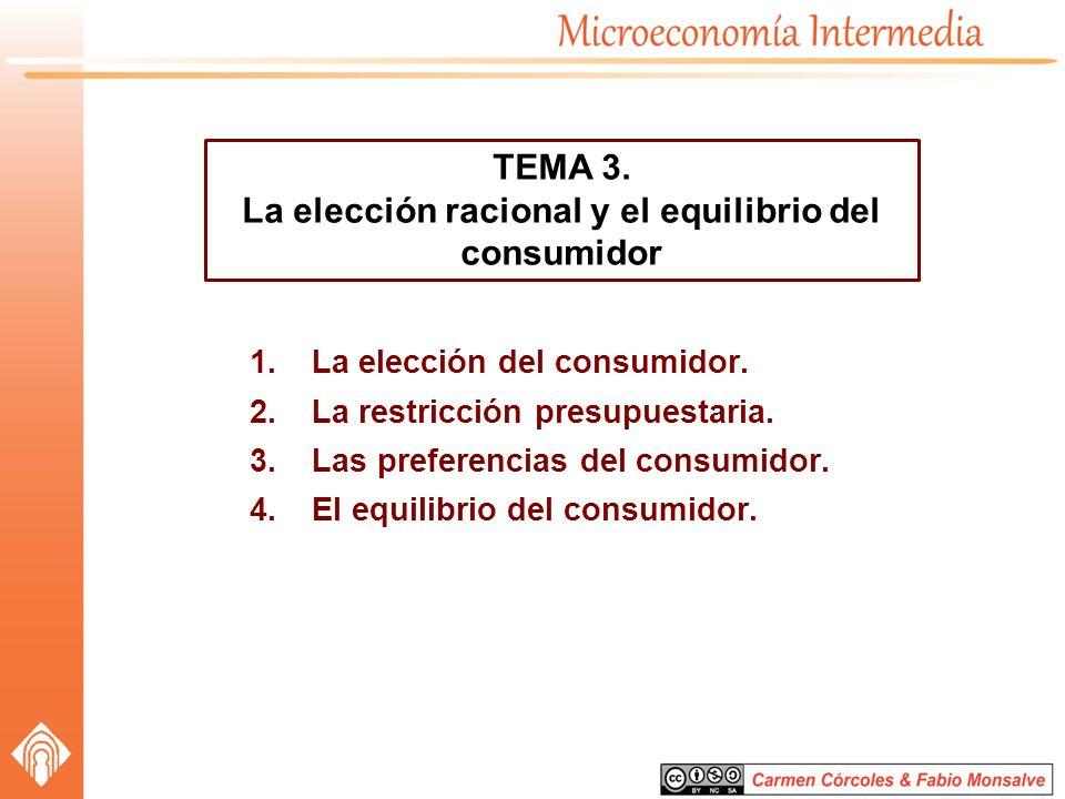 La elección racional y el equilibrio del consumidor