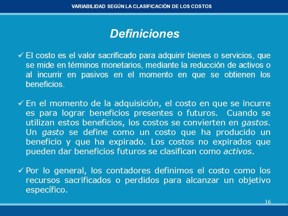 VARIABILIDAD SEGÚN LA CLASIFICACIÓN DE LOS COSTOS