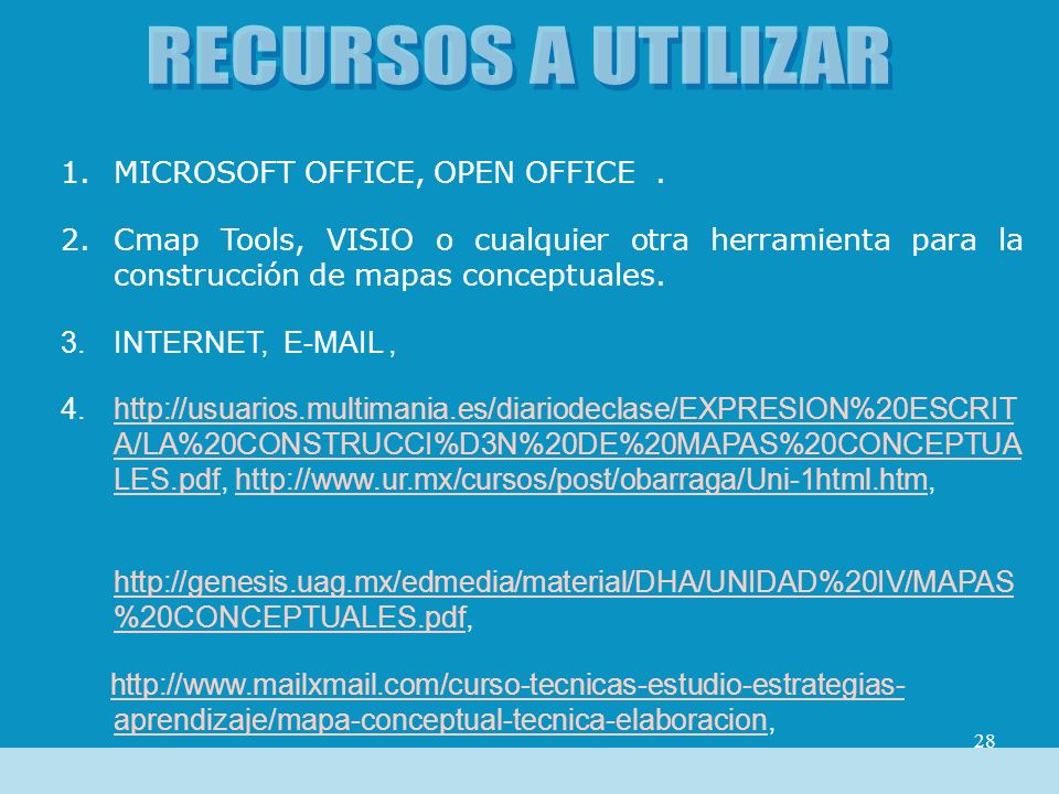 RECURSOS A UTILIZAR MICROSOFT OFFICE, OPEN OFFICE .