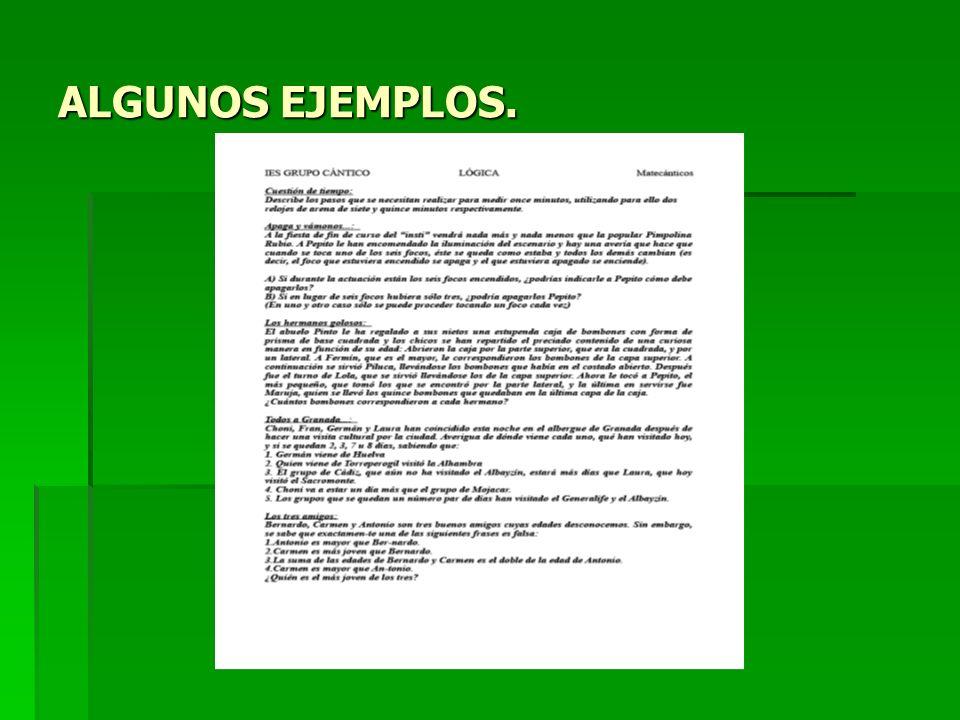 ALGUNOS EJEMPLOS.