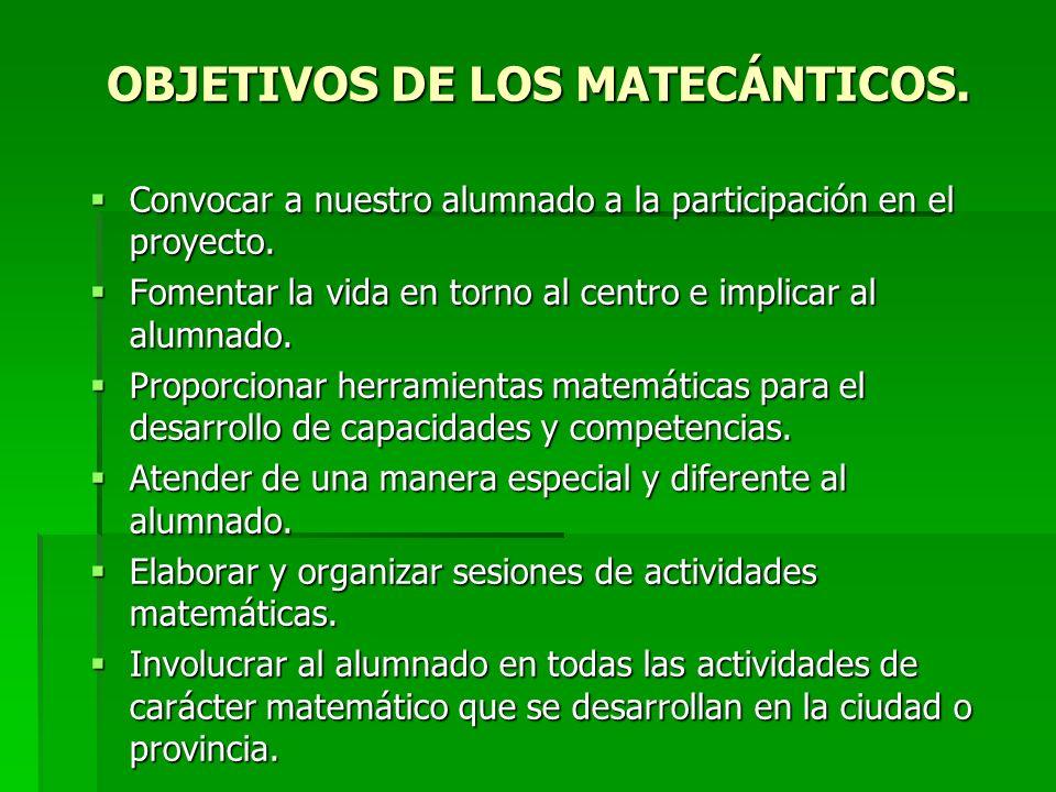 OBJETIVOS DE LOS MATECÁNTICOS.