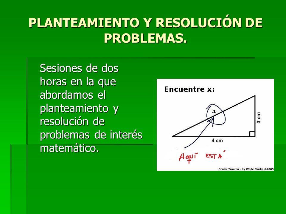 PLANTEAMIENTO Y RESOLUCIÓN DE PROBLEMAS.