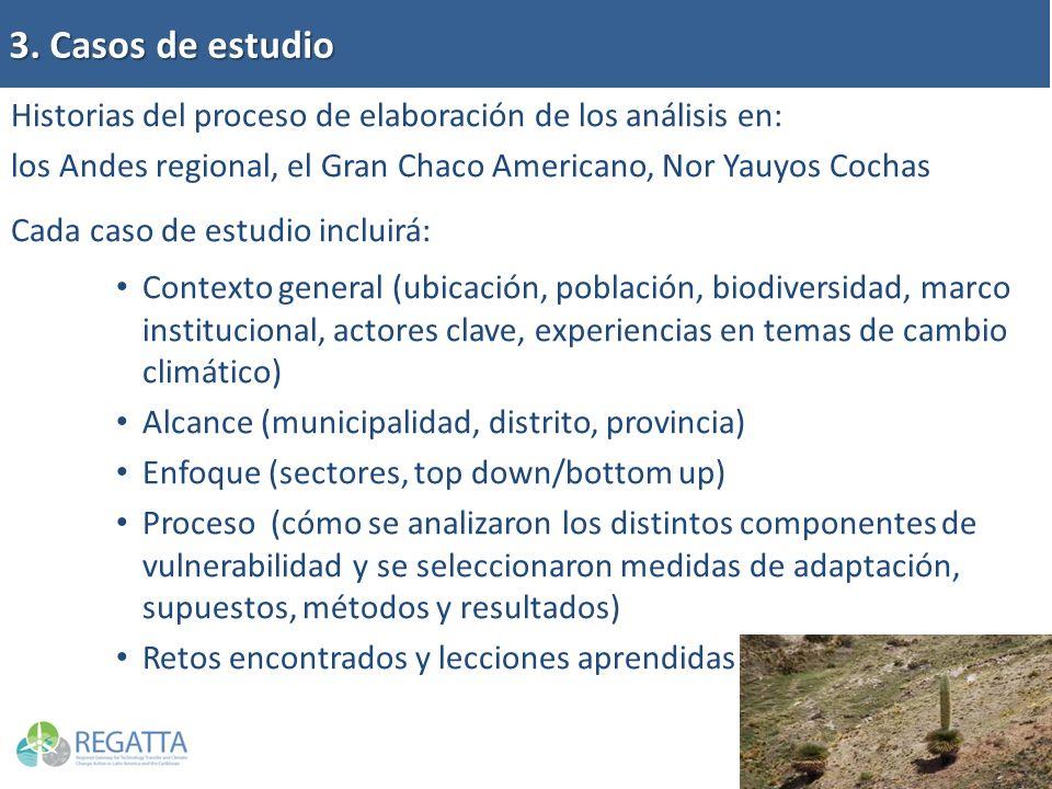 3. Casos de estudio Historias del proceso de elaboración de los análisis en: los Andes regional, el Gran Chaco Americano, Nor Yauyos Cochas.