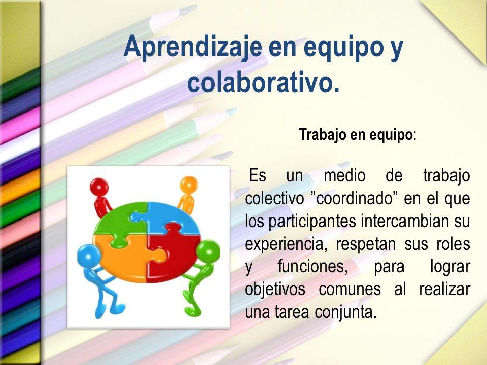 Aprendizaje en equipo y colaborativo.