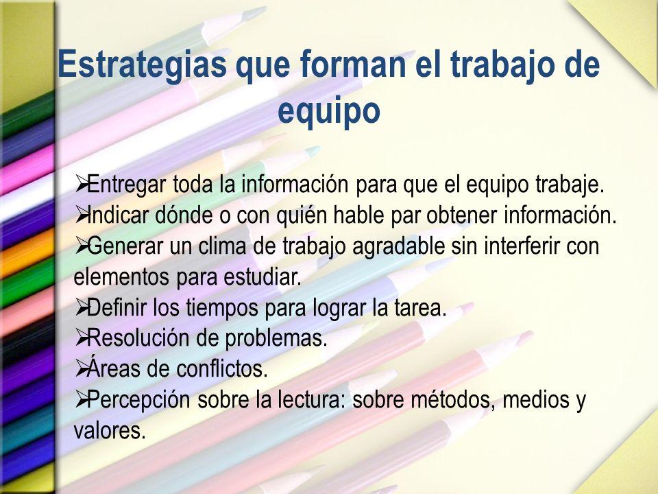 Estrategias que forman el trabajo de equipo