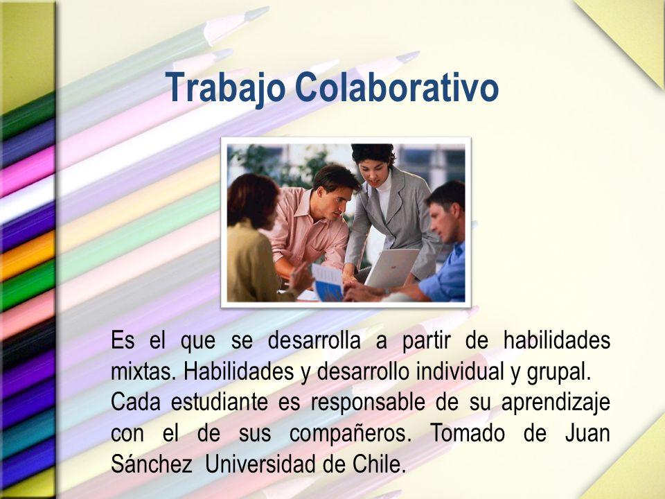 Trabajo Colaborativo Es el que se desarrolla a partir de habilidades mixtas. Habilidades y desarrollo individual y grupal.