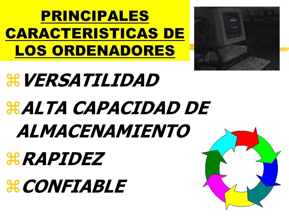 PRINCIPALES CARACTERISTICAS DE LOS ORDENADORES