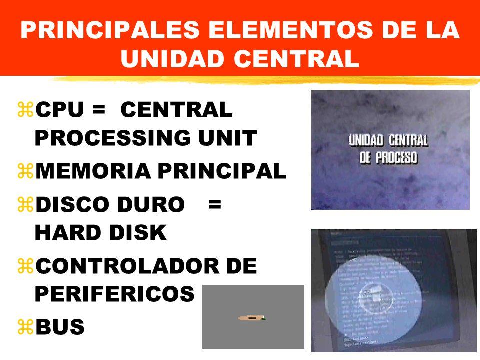 PRINCIPALES ELEMENTOS DE LA UNIDAD CENTRAL