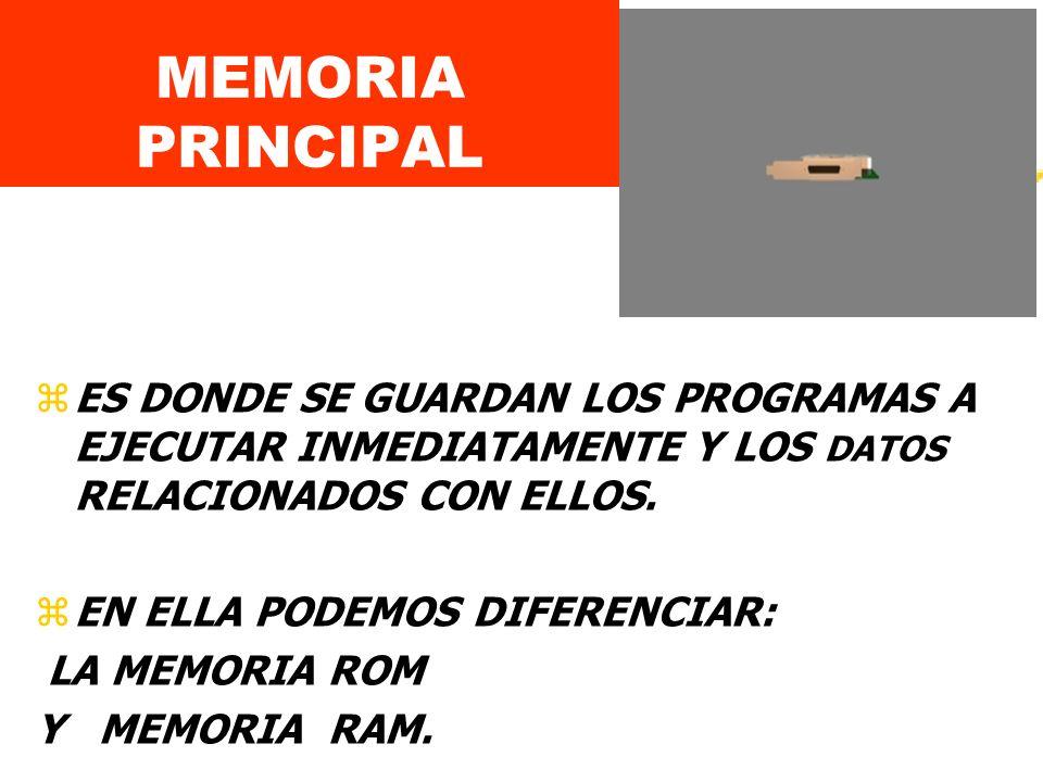 MEMORIA PRINCIPAL ES DONDE SE GUARDAN LOS PROGRAMAS A EJECUTAR INMEDIATAMENTE Y LOS DATOS RELACIONADOS CON ELLOS.