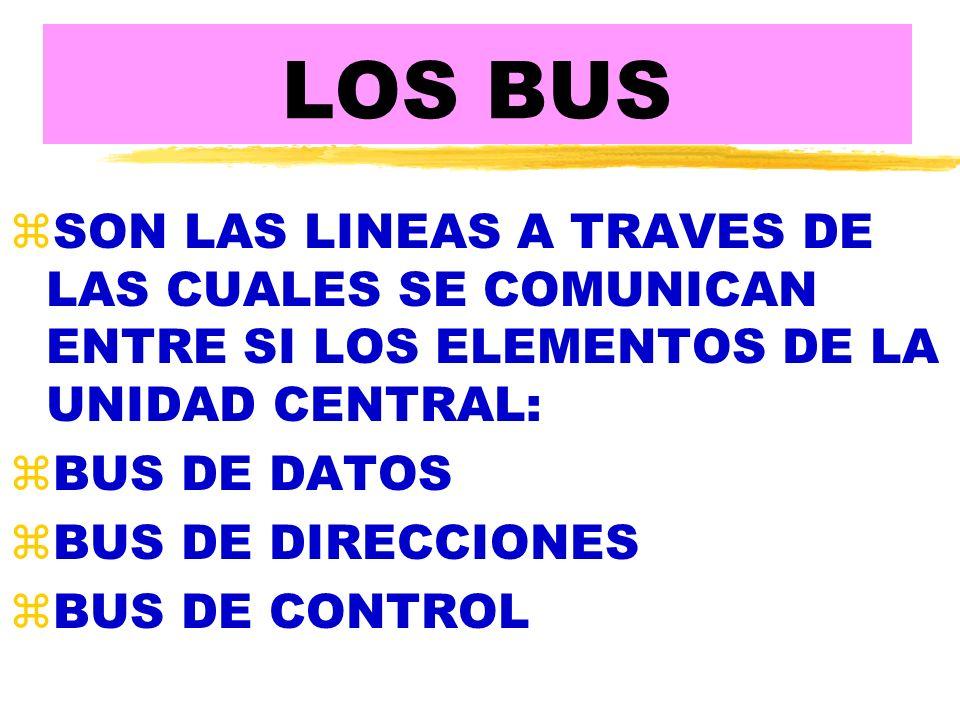 LOS BUS SON LAS LINEAS A TRAVES DE LAS CUALES SE COMUNICAN ENTRE SI LOS ELEMENTOS DE LA UNIDAD CENTRAL:
