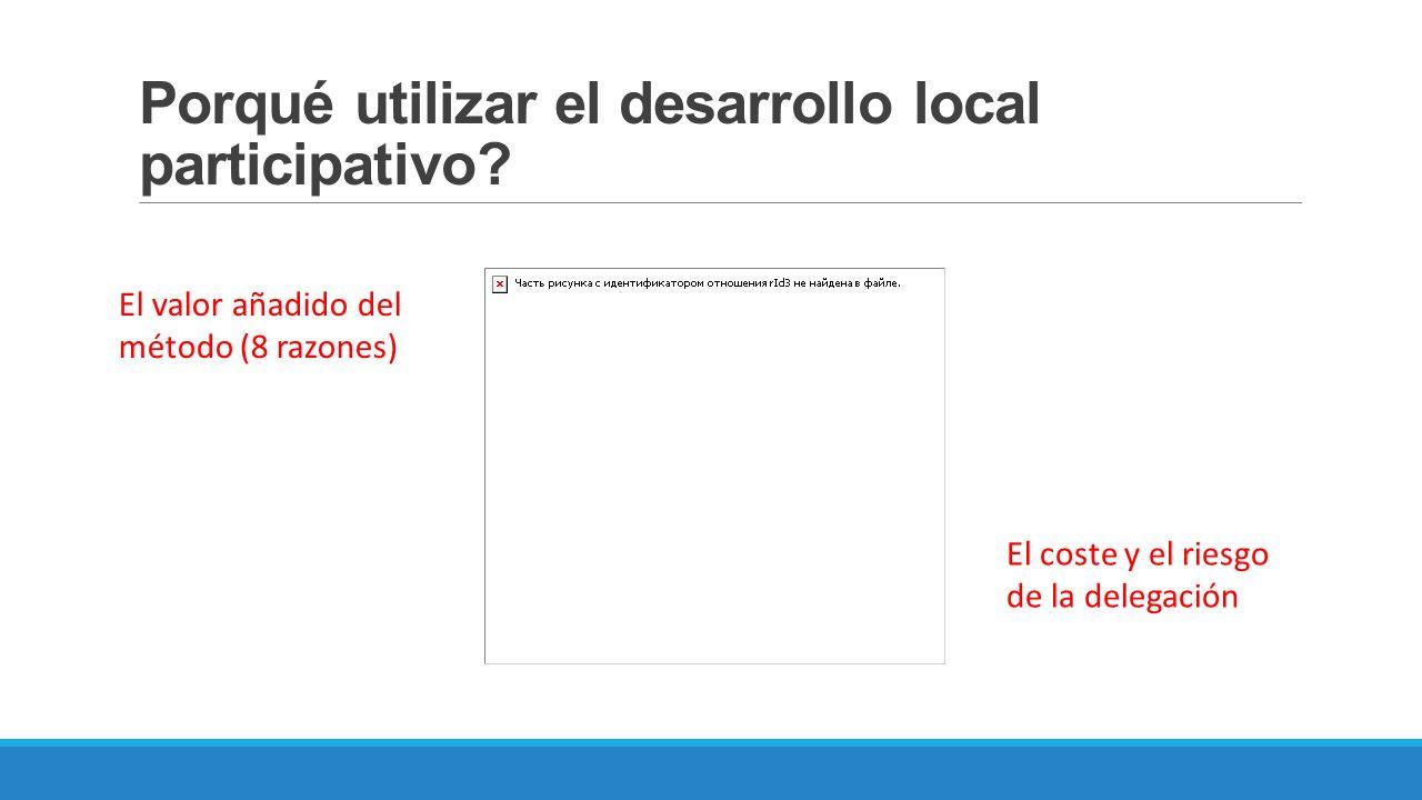 Porqué utilizar el desarrollo local participativo