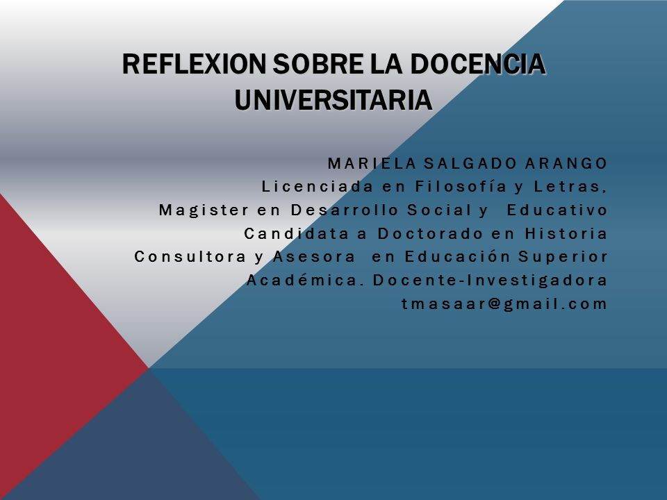 REFLEXION SOBRE LA DOCENCIA UNIVERSITARIA