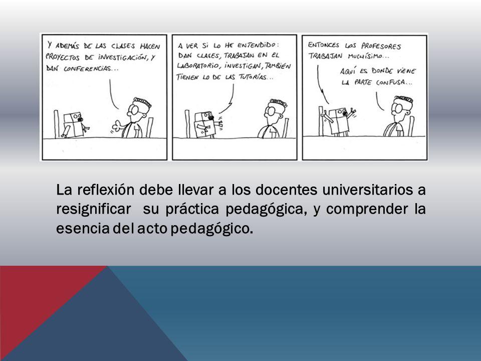La reflexión debe llevar a los docentes universitarios a resignificar su práctica pedagógica, y comprender la esencia del acto pedagógico.