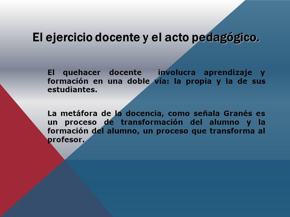 El ejercicio docente y el acto pedagógico.