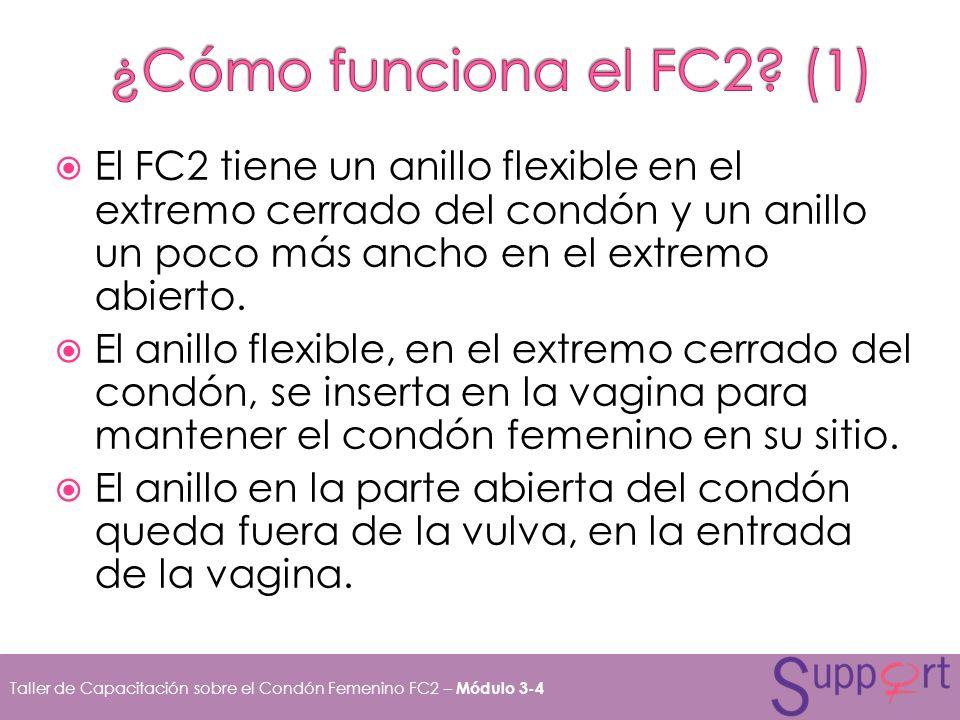 ¿Cómo funciona el FC2 (1) El FC2 tiene un anillo flexible en el extremo cerrado del condón y un anillo un poco más ancho en el extremo abierto.