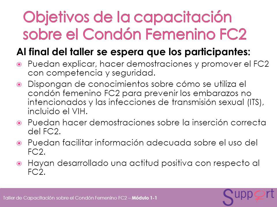 Objetivos de la capacitación sobre el Condón Femenino FC2