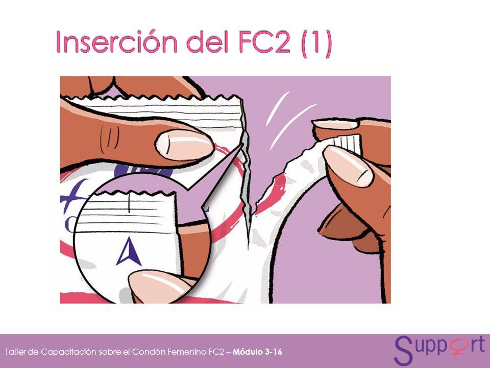 Inserción del FC2 (1) Para abrir el paquete, rásgalo empezando desde la flecha situada en el borde y saca el condón.