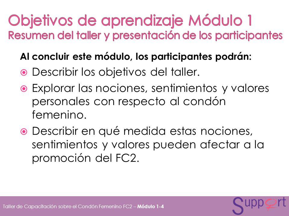 Objetivos de aprendizaje Módulo 1 Resumen del taller y presentación de los participantes