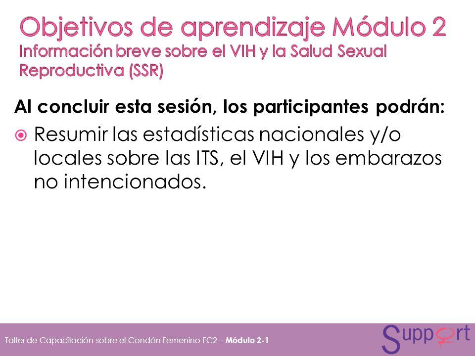 Objetivos de aprendizaje Módulo 2 Información breve sobre el VIH y la Salud Sexual Reproductiva (SSR)