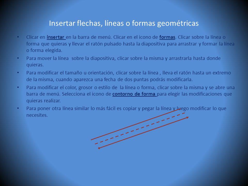 Insertar flechas, líneas o formas geométricas