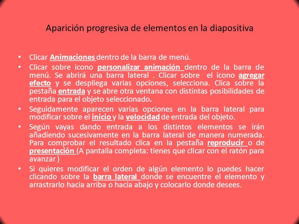 Aparición progresiva de elementos en la diapositiva