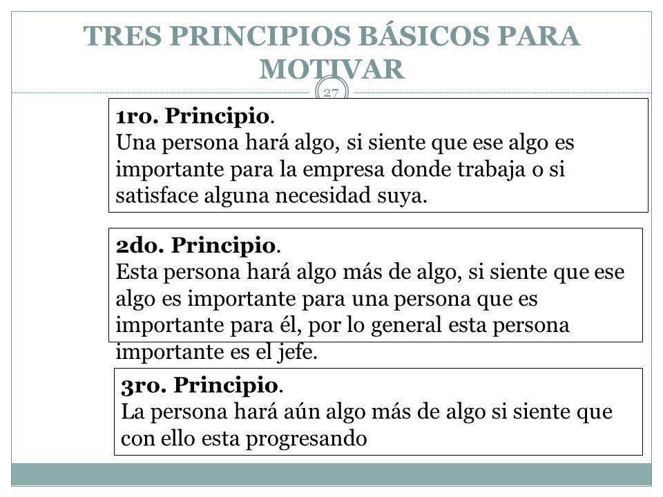 TRES PRINCIPIOS BÁSICOS PARA MOTIVAR