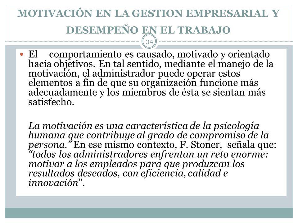 MOTIVACIÓN EN LA GESTION EMPRESARIAL Y DESEMPEÑO EN EL TRABAJO