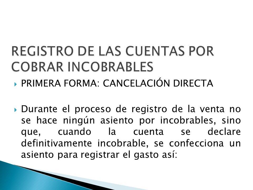 REGISTRO DE LAS CUENTAS POR COBRAR INCOBRABLES