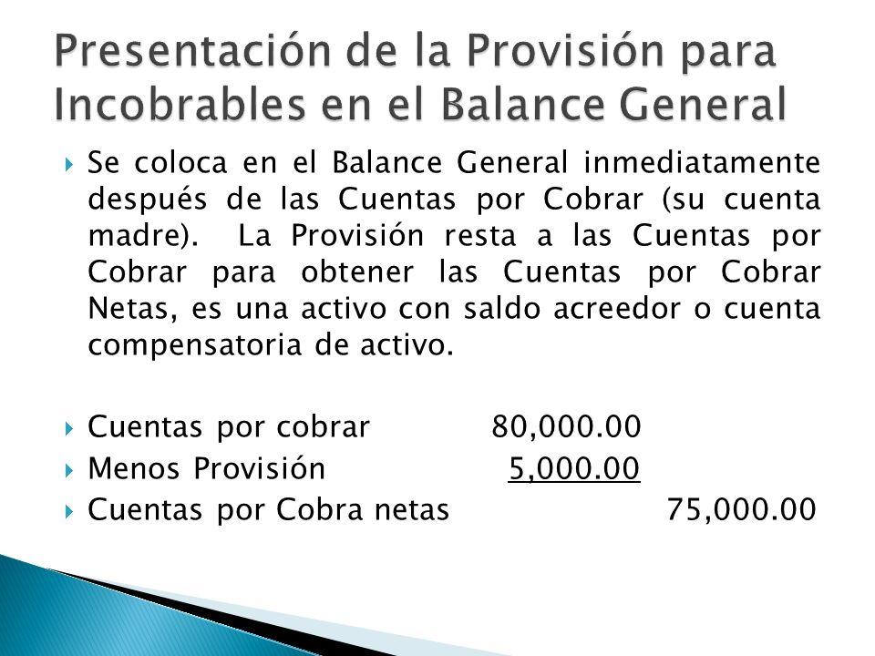 Presentación de la Provisión para Incobrables en el Balance General