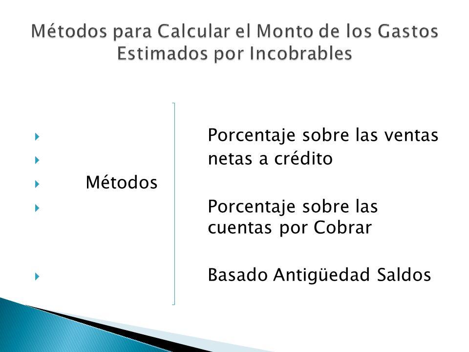 Métodos para Calcular el Monto de los Gastos Estimados por Incobrables