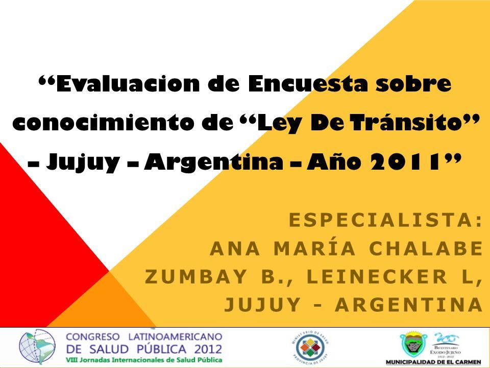 Evaluacion de Encuesta sobre conocimiento de Ley De Tránsito – Jujuy – Argentina – Año 2011