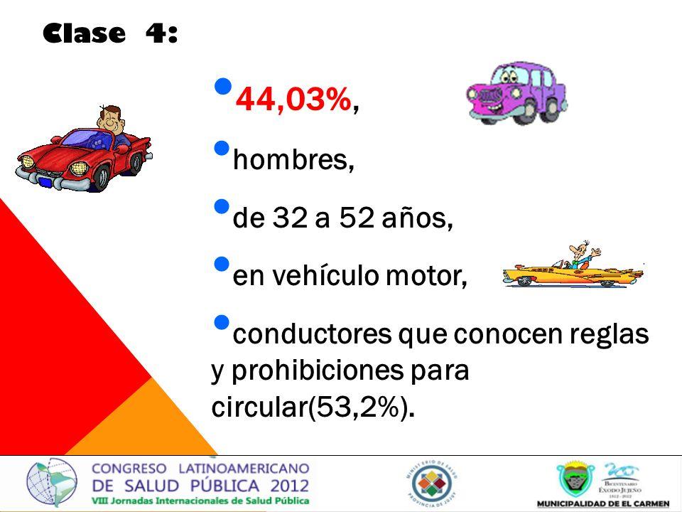 44,03%, hombres, de 32 a 52 años, en vehículo motor,